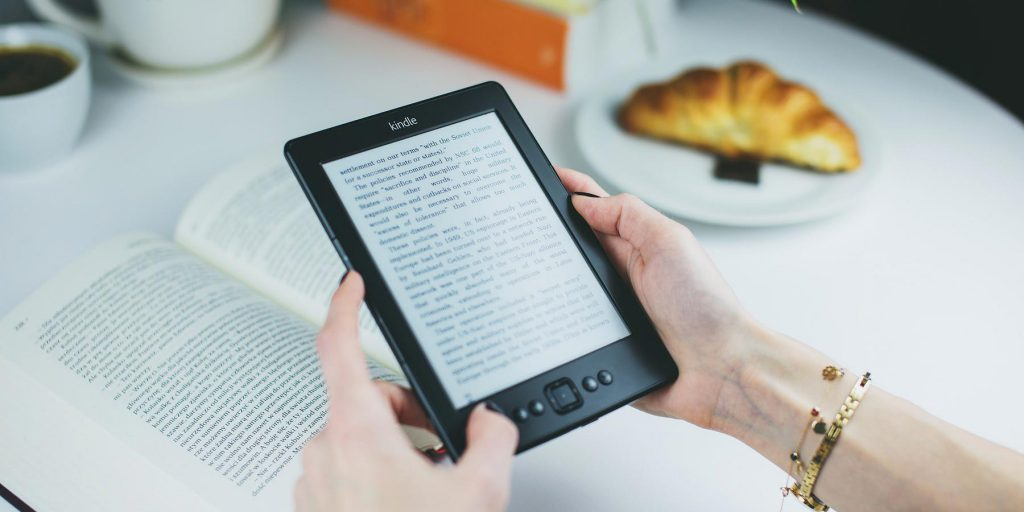 reading from a tablet